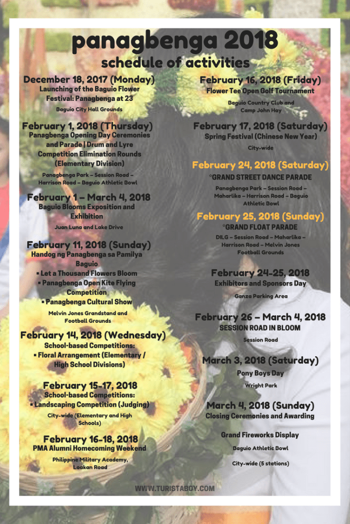 Panagbenga 2018 Schedule of Activities | Turista Boy