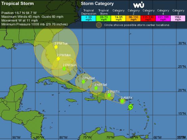 Trayecto proyectado de la tormenta tropical o huracán. Foto: The Weather Channel
