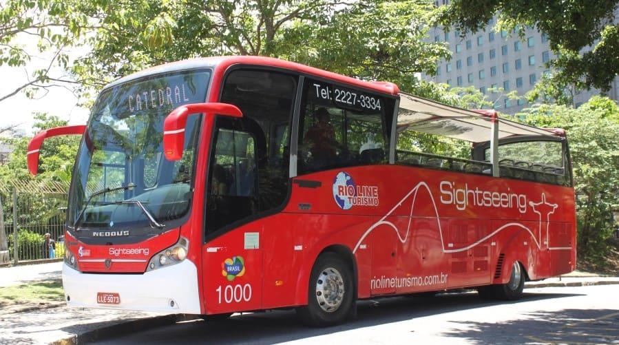 City Tour no Rio de Janeiro: ônibus panorâmico da empresa Rio Line