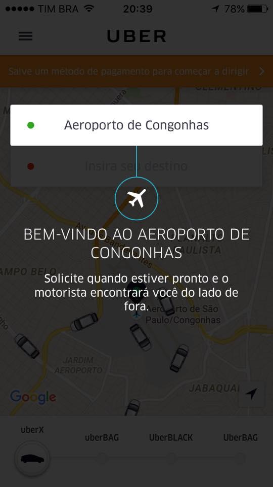 Uber chega em Congonhas