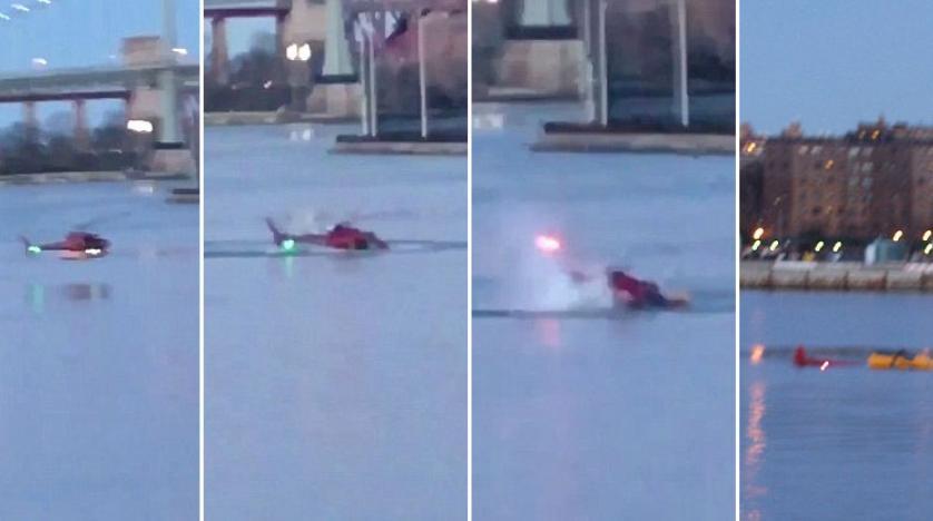 New York'ta nehre düşen helikopterin düşme anı