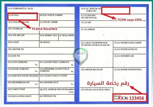 رقم رخصة السيارة في تركيا