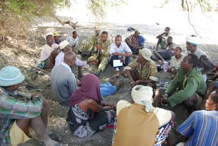 Gabbra community members with the consultant, NMK, and KWS officials