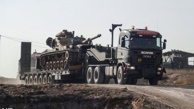 Turkey, northern Syria, Azaz, mortar fire