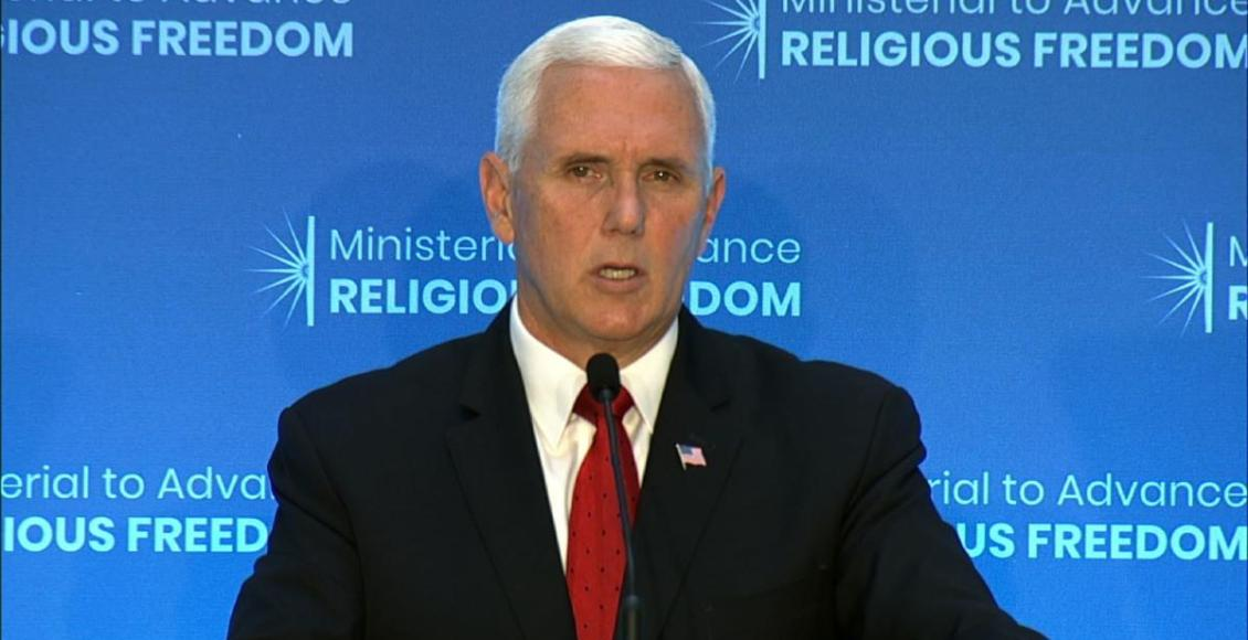 U.S. Vice President Mike Pence speaks at a conference on religious freedom