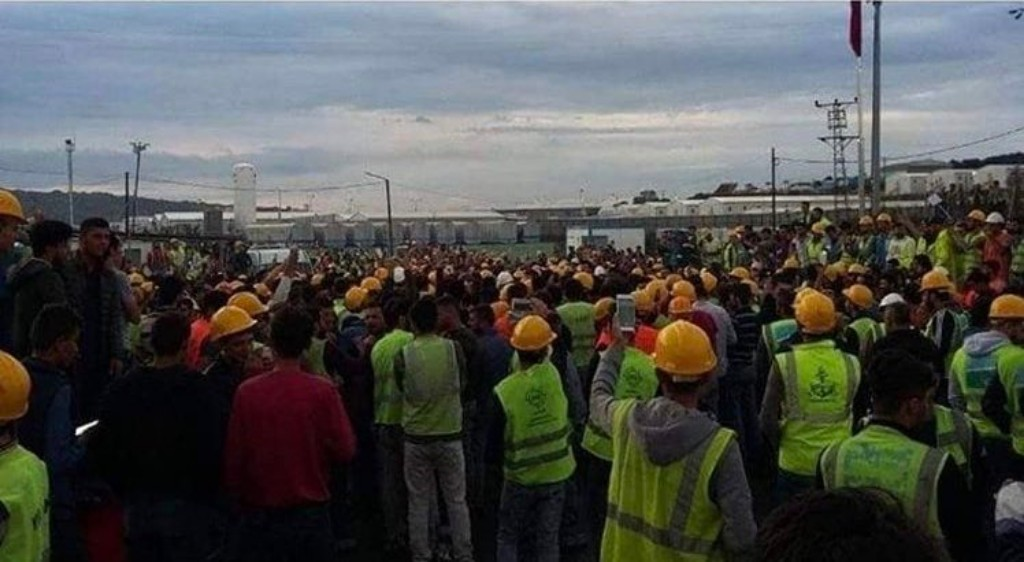 Workers gathered for a protest at Istanbul's new airport.