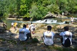 "Birmingham-Southern College's ENGAGE progragam students enjoy the ""Falls"" after a hard day of helping to keep TCNP beautiful"