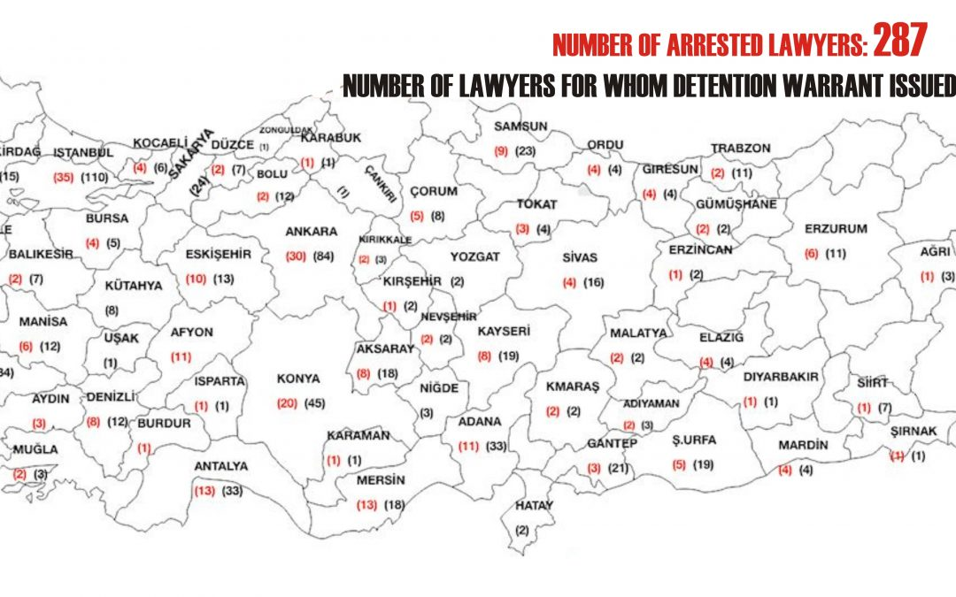 Turkey keeps 287 lawyers under arrest as part of post-coup purge