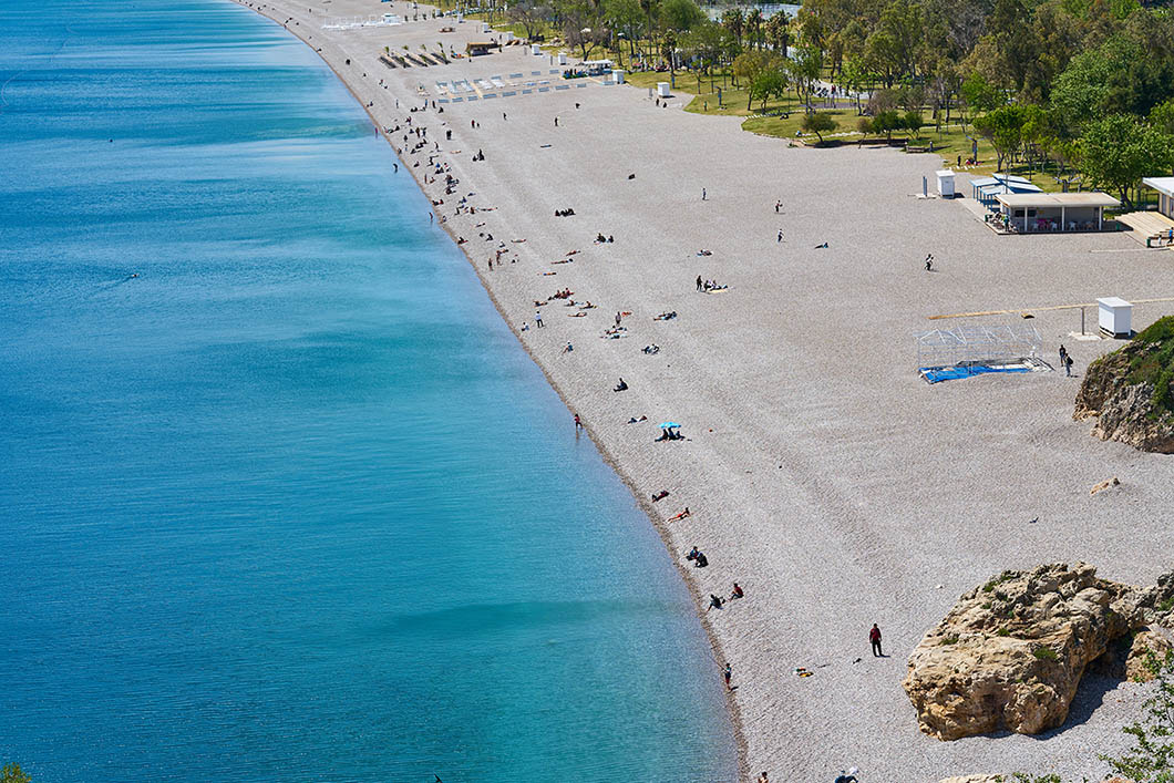 Beautiful beach and sea background from Antalya