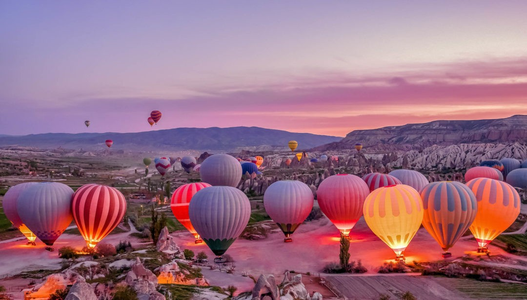 Colorful hot air balloons before launch in Goreme national park, Cappadocia,