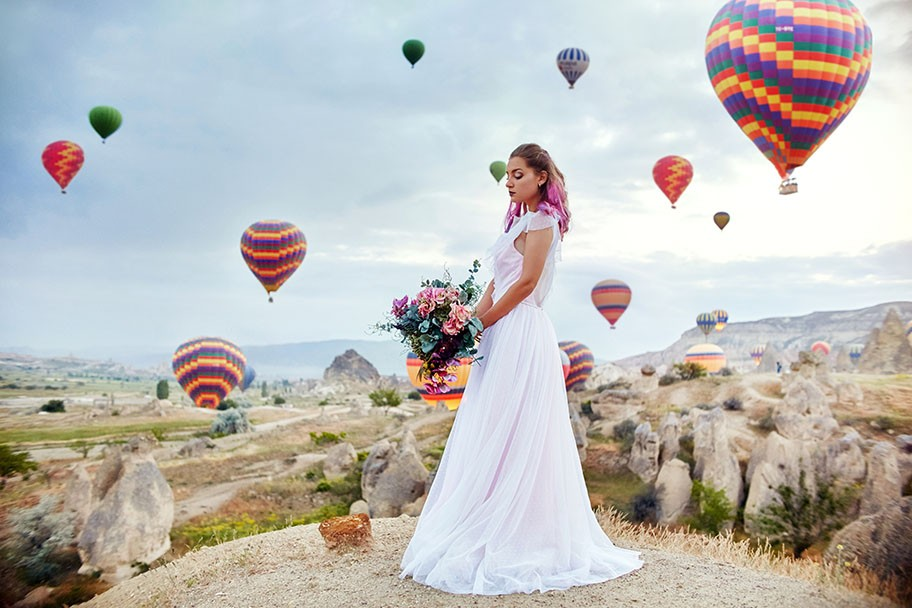 background of hot air balloons in Cappadocia.
