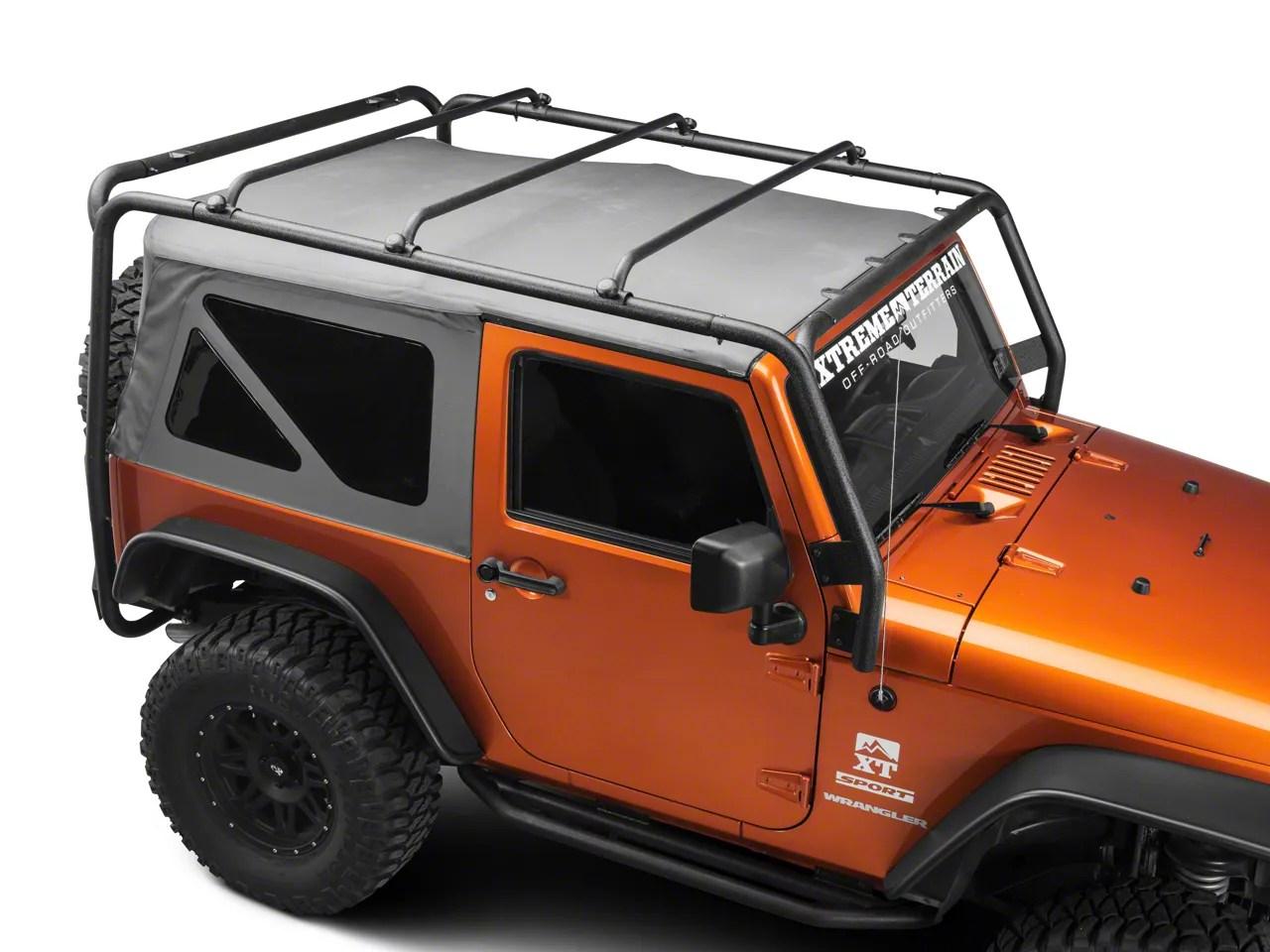 barricade roof rack textured black 07 18 jeep wrangler jk 2 door