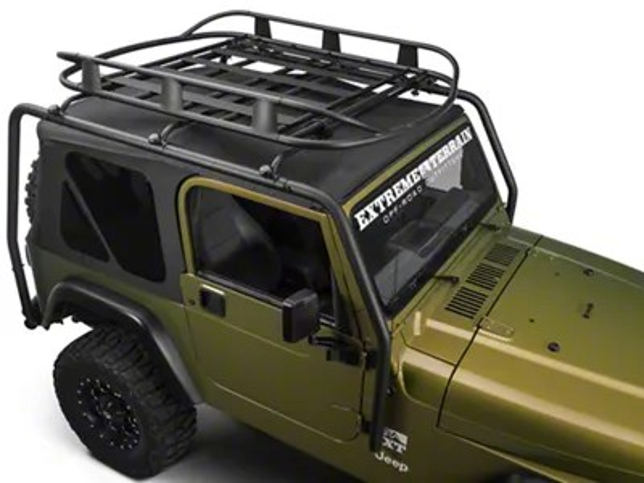 barricade roof rack basket textured black 87 06 jeep wrangler yj tj