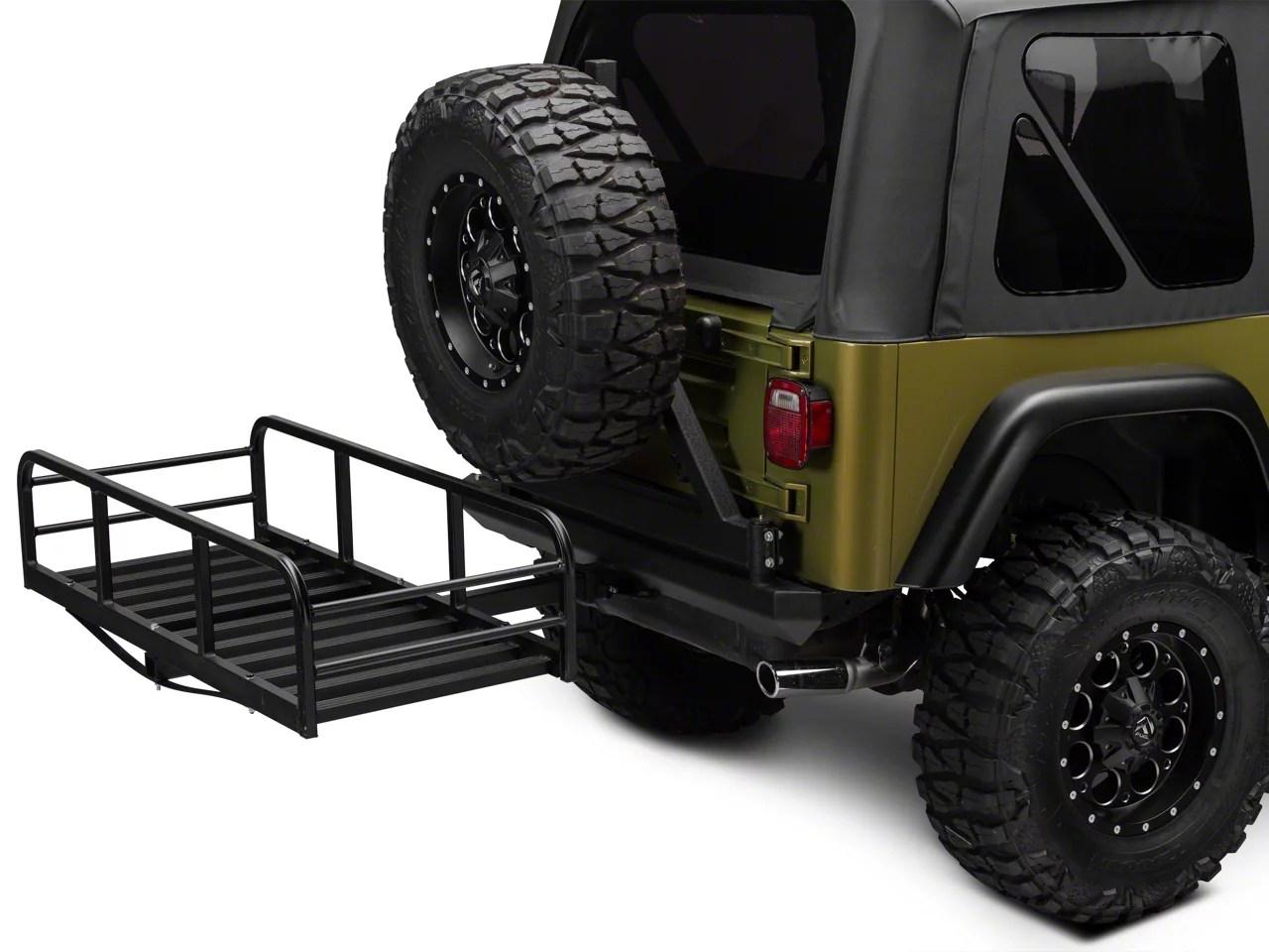 redrock 4x4 hitch mounted cargo rack 12 inch xl 87 06 jeep wrangler yj tj