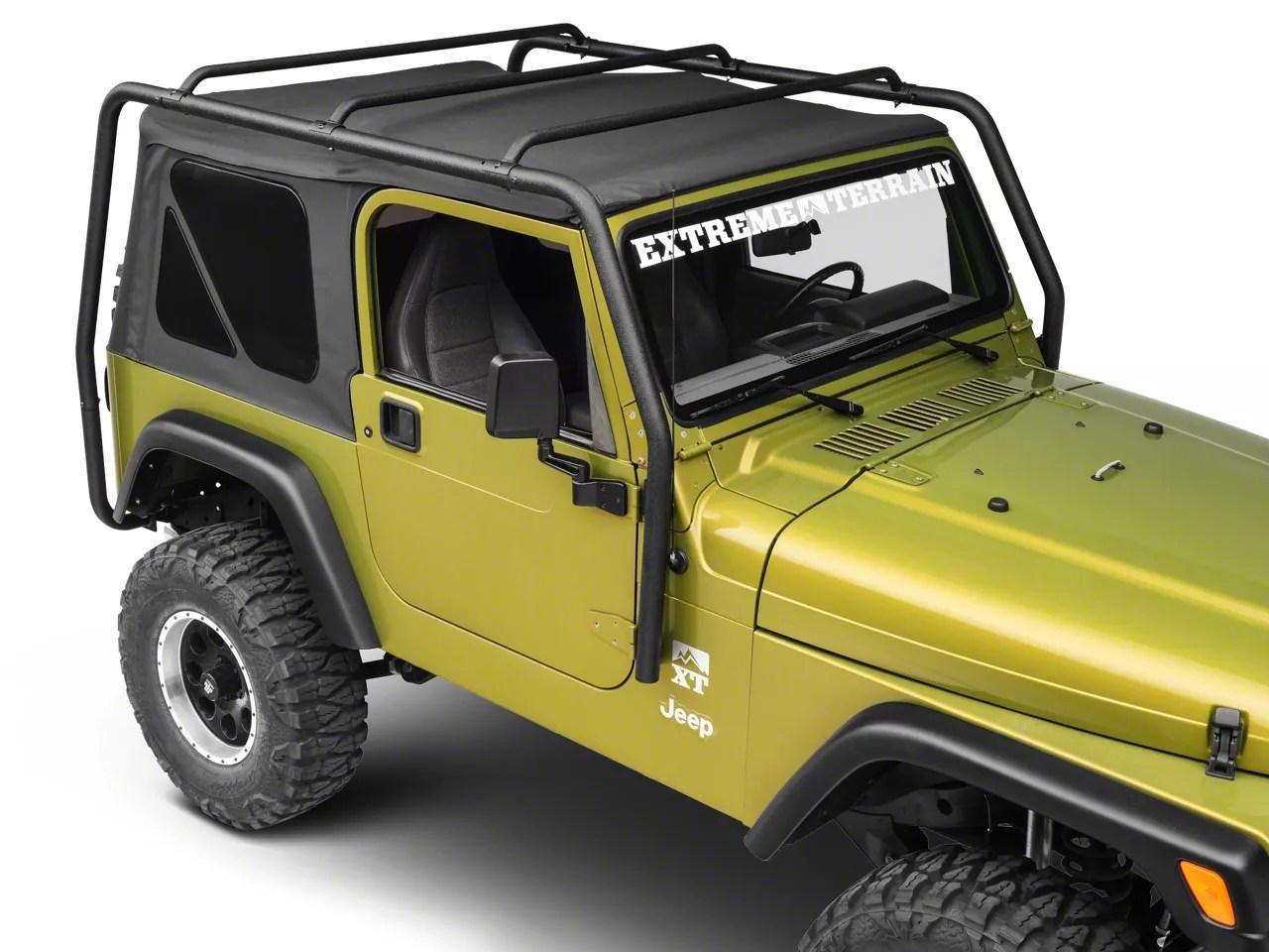 smittybilt src roof rack textured black 97 06 jeep wrangler tj excluding unlimited