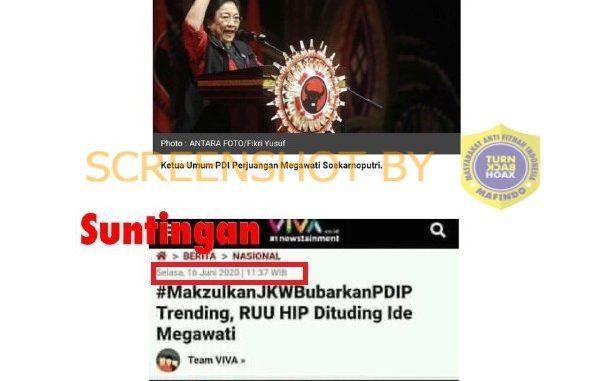 """[SALAH] Artikel """"#MakzulkanJKWBubarkanPDIP Trending, RUU HIP Dituding Ide Megawati"""""""