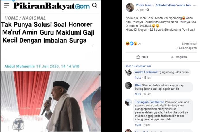 [SALAH] Tak Punya Solusi Soal Honorer, Maruf Amin Guru Maklumi Gaji Kecil Dengan Imbalan Surga