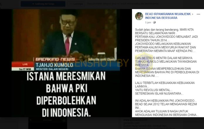 [SALAH] Istana Meresmikan Bahwa PKI Diperbolehkan di Indonesia