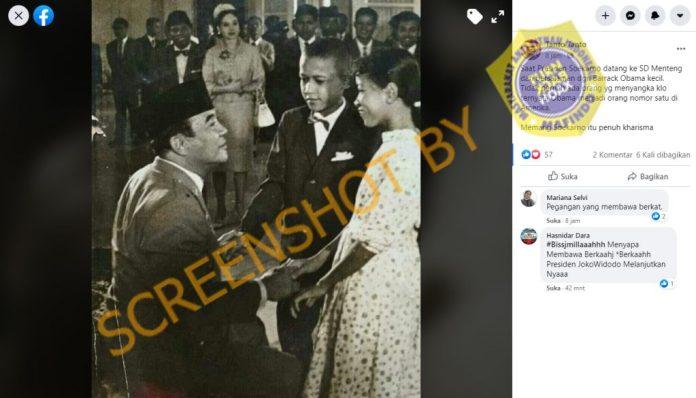 [SALAH] Foto Presiden Soekarno Bersama Barrack Obama Kecil