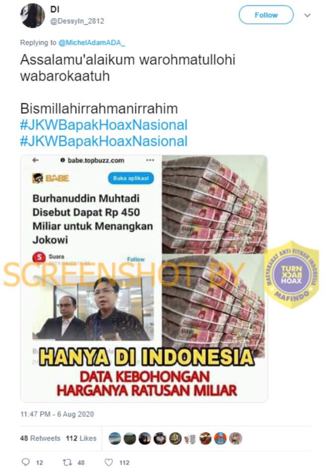 [SALAH] Burhanuddin Muhtadi Disebut Dapat Rp450 Miliar untuk Menangkan Jokowi