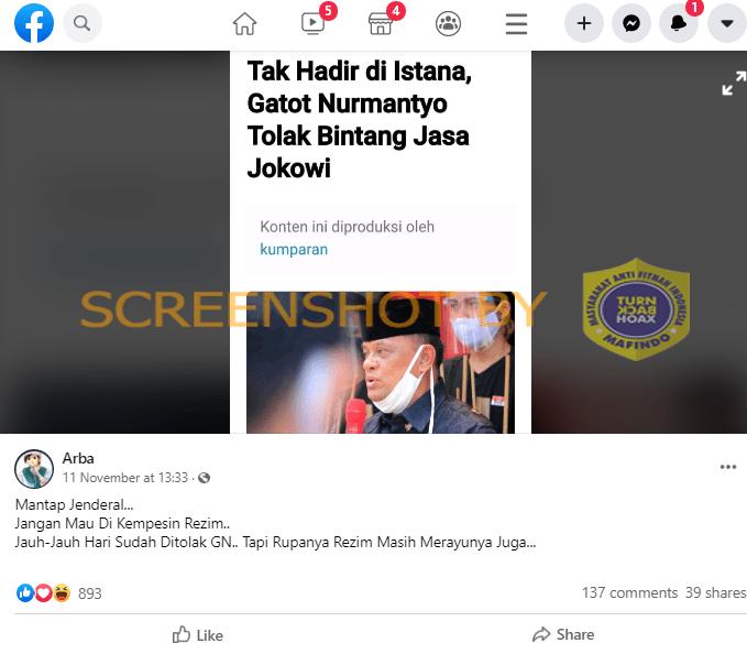 "[SALAH] ""Tak Hadir di Istana, Gatot Nurmantyo Tolak Bintang Jasa Jokowi"""
