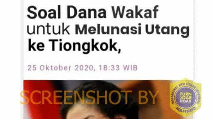 """[SALAH] """"Megawati Minta Sri Mulyani Jangan Pelit Soal Dana Wakaf Untuk Melunasi Utang ke Tiongkok"""""""