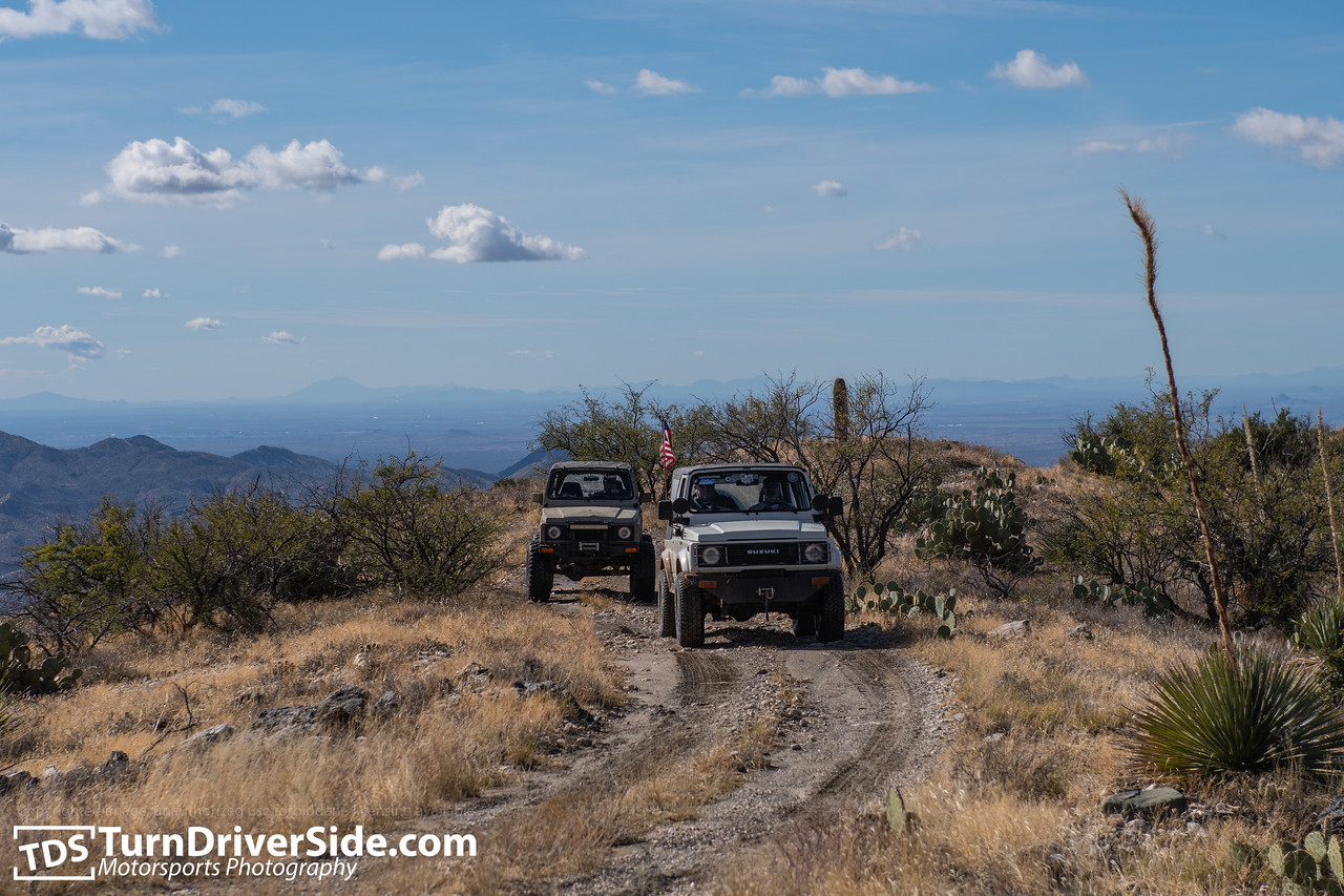 Rob in his White Suzuki Samurai and Daniel in his desert tan Suzuki Samurai on the Pucker Ridge Trail