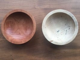 two people took turns making these bowls