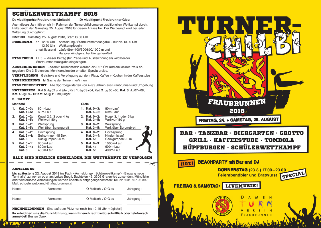 Flyer Turner-Chilbi 2018 - Front