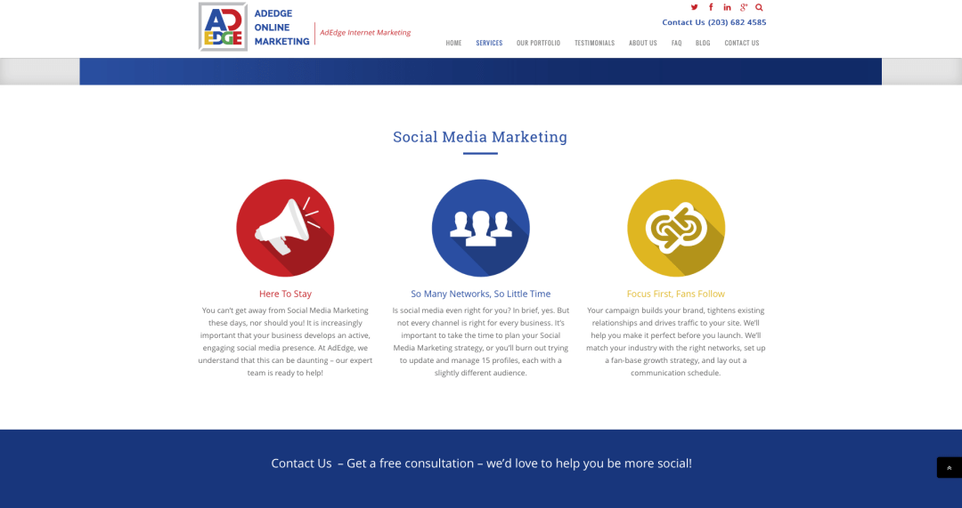 AdEdge Marketing's Services-SMM page, Rewritten by Turner Creative.