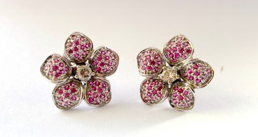 White Gold, Pink Sapphire & Diamond Earring
