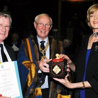 John Edwards receiving his first prize from the Lord Mayor, Fiona Woolf
