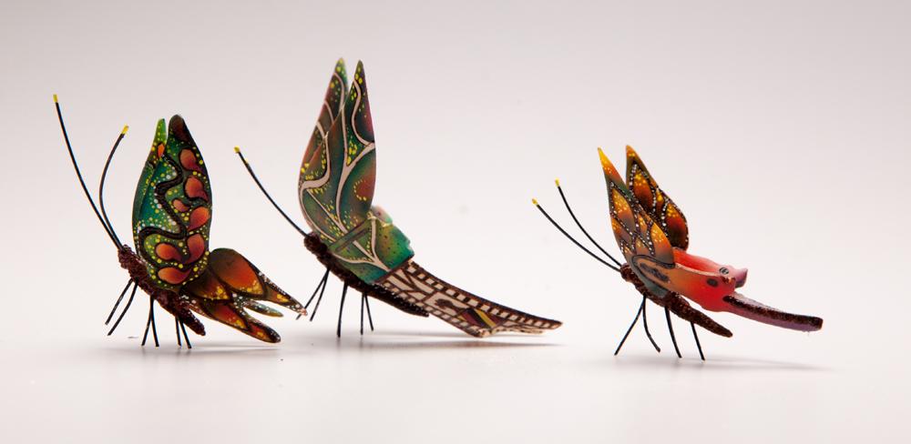 WiW2016 - Joey Richardson - Methuselah detail - Butterflies - Turned sycamore & acrylic colours