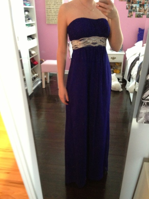 Samantha's second choice/second dress - strapless, deep purple with silver embellishment