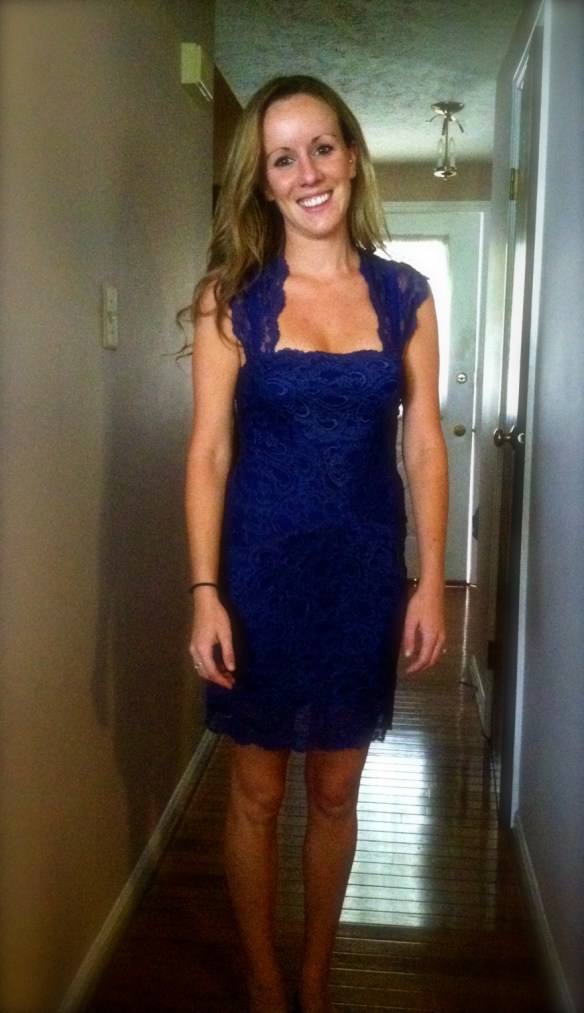 Kelsey, wearing her Rent the Runway blue lace dress