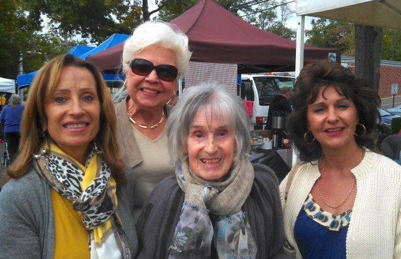 Flowers at the Farmer's Market: Hazel, Barbara, Margaret and Pauline