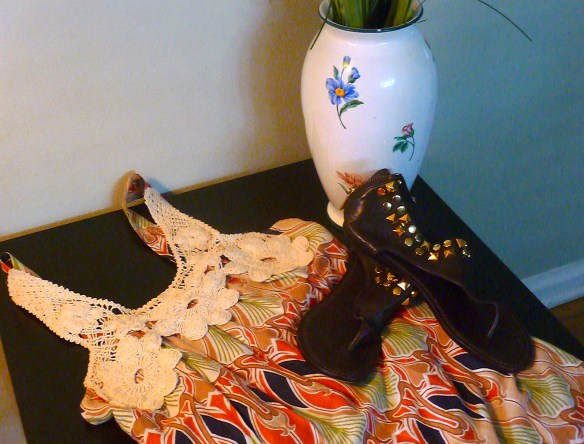 My consignment treasures: a Hazel sundress and Tory Burch gladiator-style sandals with gold detail