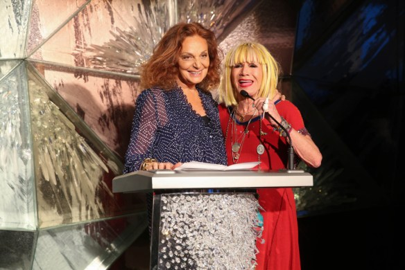 CFDA president Diane von Furstenberg with 2015's recipient of the Geoffrey Beene Lifetime Achievement Award, Betsey Johnson (Credit: Getty)
