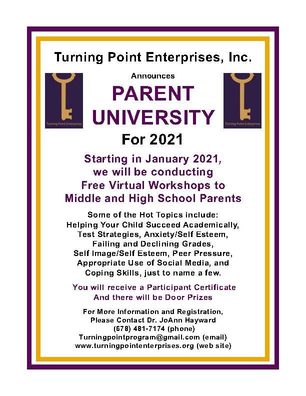 flyer for parent university
