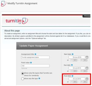 Modify Turnitin Assignment