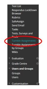 Turnitin assignments in the Course Toolsl menu