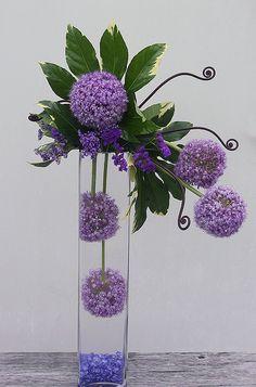 Allium - Greenery in Clear Vase