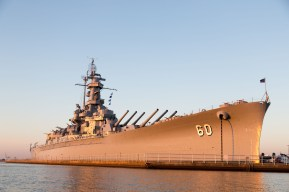USS Alabama battleship at sunrise