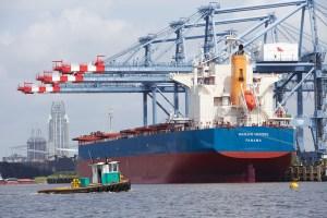 Ships in port in Mobile, Alabama