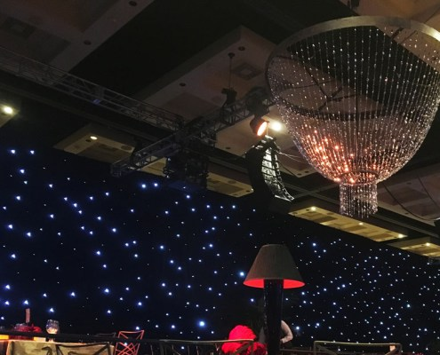 Beaded Chandelier With LED Star Drop Background