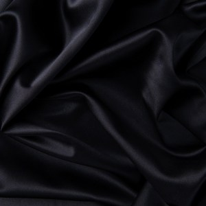 Pipe Pocket Pure Black Shiny Satin Sample Swatch For Turn of Events Rental Drapery Las Vegas