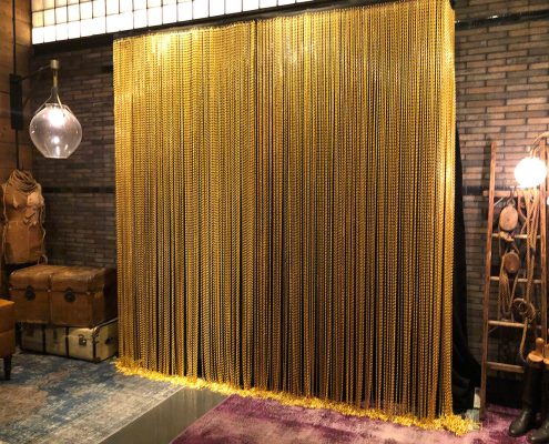 Gold Décor Chain Rental Panel From Turn of Events Las Vegas Rental Drapery