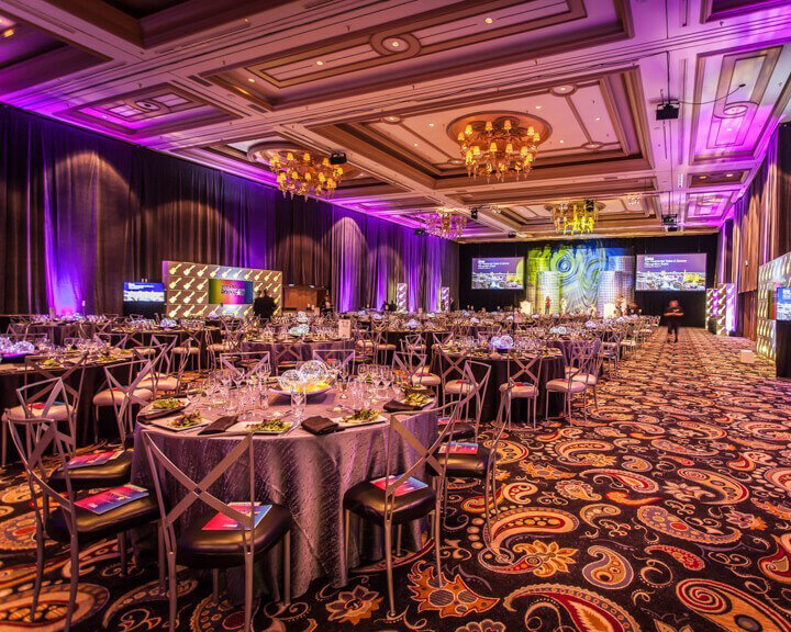 Perimeter Gray Velour Velvet Drapery at a Las Vegas Casino Ballroom from Turn of Events Las Vegas