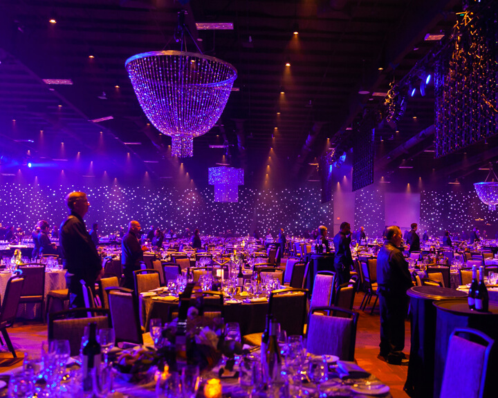 Perimeter LED Star Drop Event Drapery with Hanging Beaded Chandeliers from Turn of Events Las Vegas