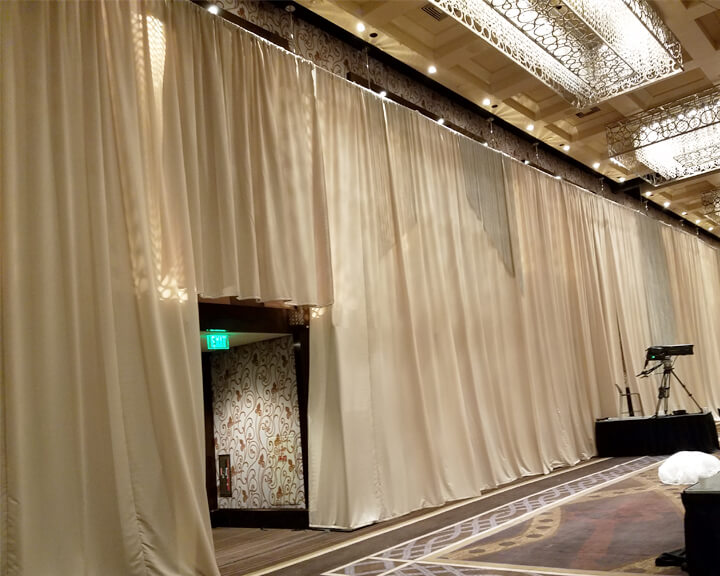 Taupe Satin Pipe Pocket Event Drapery at 20'H from Turn of Events Las Vegas